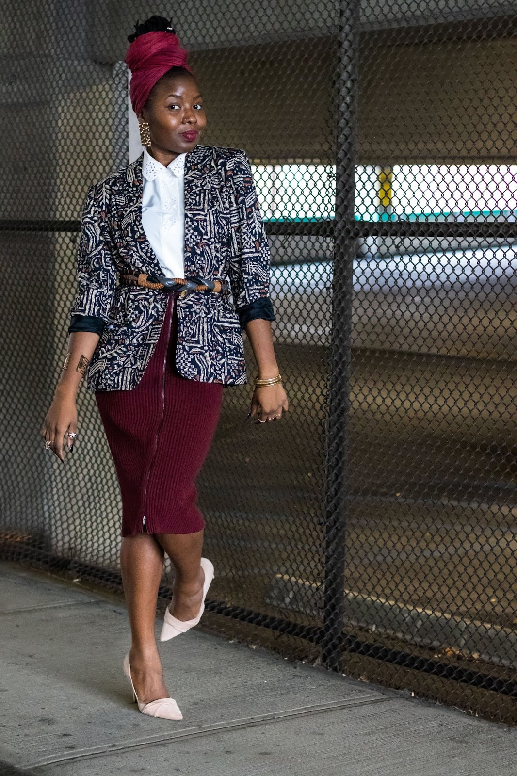 Patterned blazer, vintage white blouse, nude heels