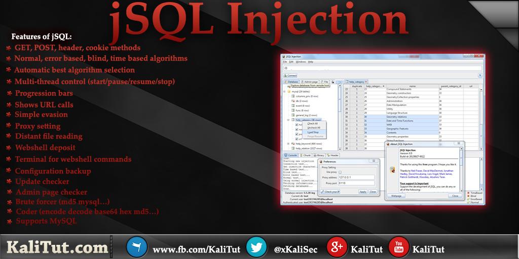 jSQL Injection - KaliTut