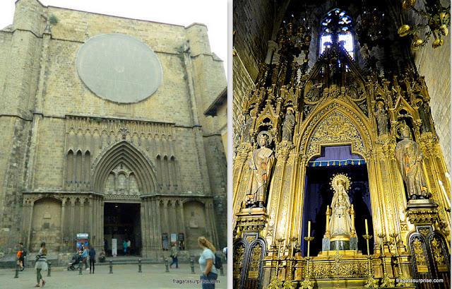 Fachada e um altar da Igreja de Santa Maria del Pi, em Barcelona