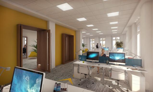 Perspective 3D d'architecture du plateau de bureaux