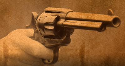 hand holding army colt gun