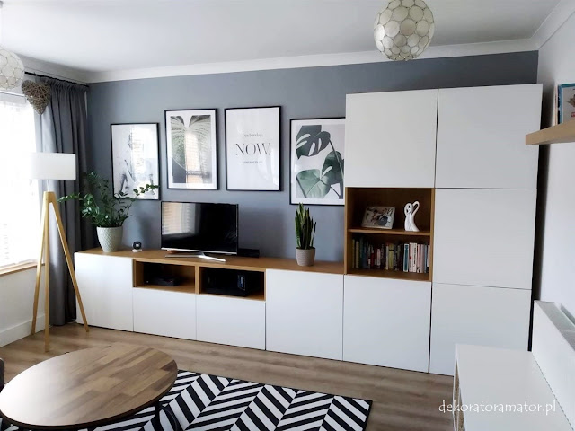 pokój dzienny salon pokój rodzinny plakaty styl skandynawski