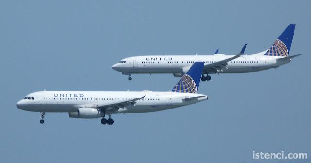 United Havayollarına ait Airbus A320 ve Boeing 737-800 tipi yolcu uçakları San Francisco havalimanına paralel iniş gerçekleştiriyor... | Uçakların İsimleri Nasıl Belirleniyor?