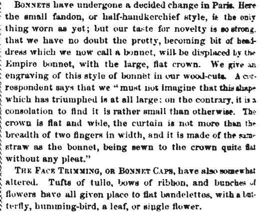 Bonnet descriptions in Peterson's Magazine, September 1865.