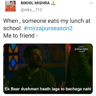 Only I get to eat my lunch | Mirzapur 2 Memes(from Mirzapur 2 trailer)