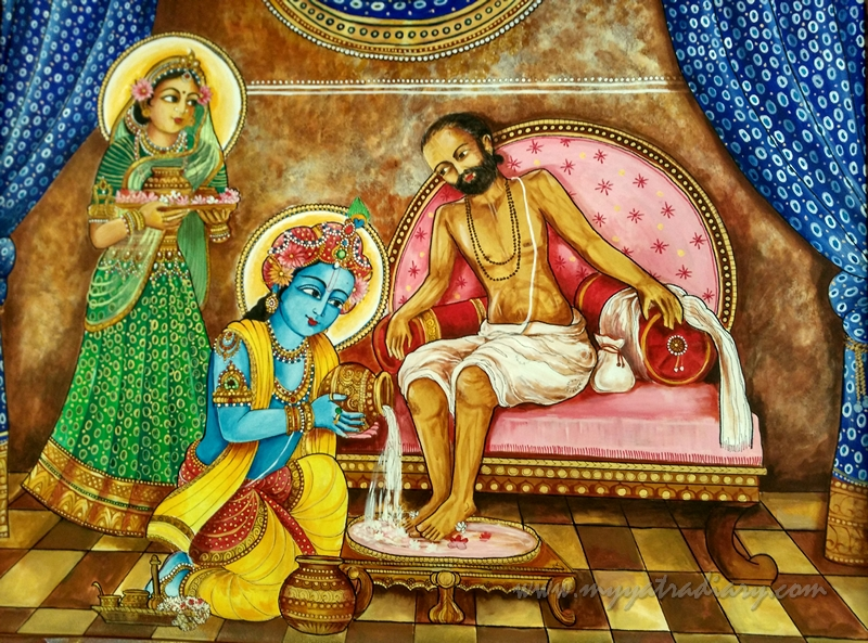 Sudama and friendship - Paintings in ISKCON Temple, Chennai