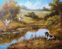 Охота на уток, картина