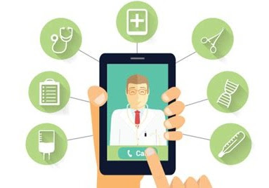 Telemedicine App being shown on a Mobile device pictorally