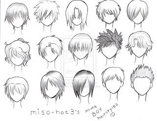 AnimeAção: Exemplos para Treino de cabelos para Mangá.
