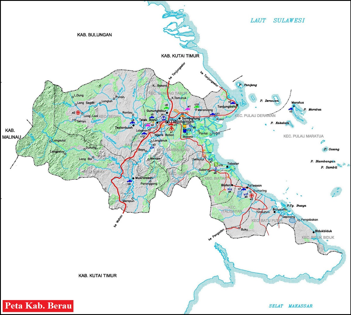 Peta Kabupaten Berau HD Lengkap