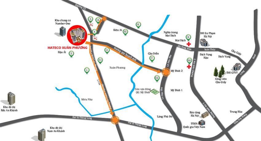 Vị trí biệt thự liền kề Hateco 3 Xuân Phương.