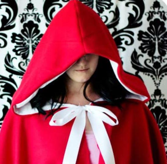 patrones gratis para una capa de disfraz de Caperucita roja