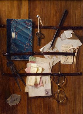 trompe l'oeil, vintage papers, antique desk utensils