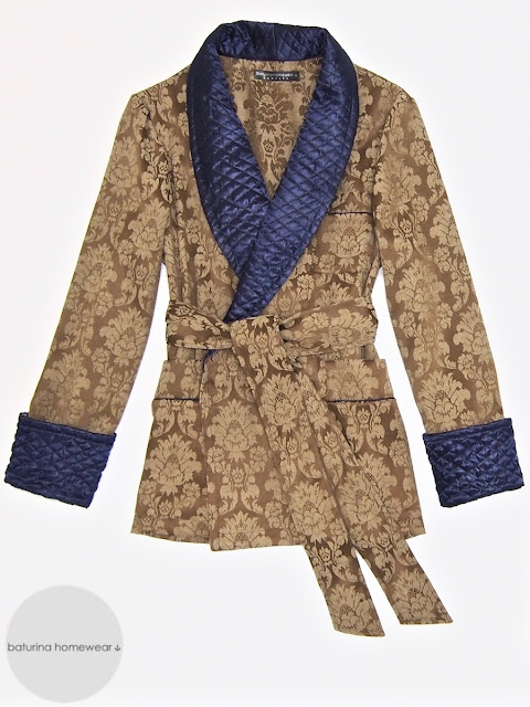 Men's dressing gown smoking jacket robe paisley quilted silk collar warm large sizes old fashioned vintage victorian