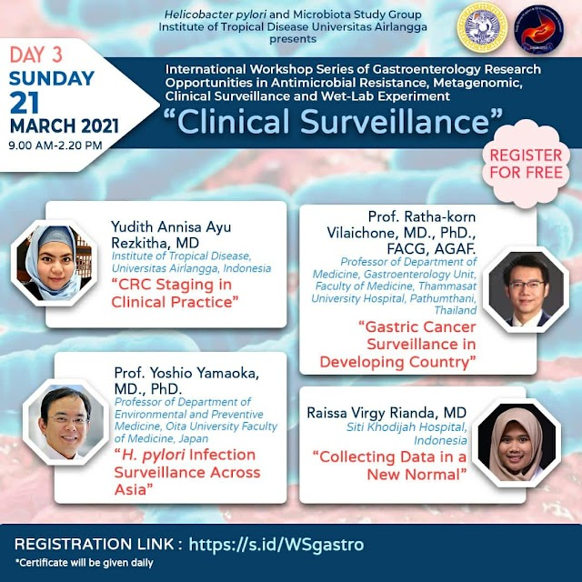 (Free Certificate) INTERNATIONAL WORKSHOP SERIES : Gastroenterology Research Opportunities in Antimicrobial Resistance, Metagenomic, Clinical Surveillance and Wet-Lab Experiment