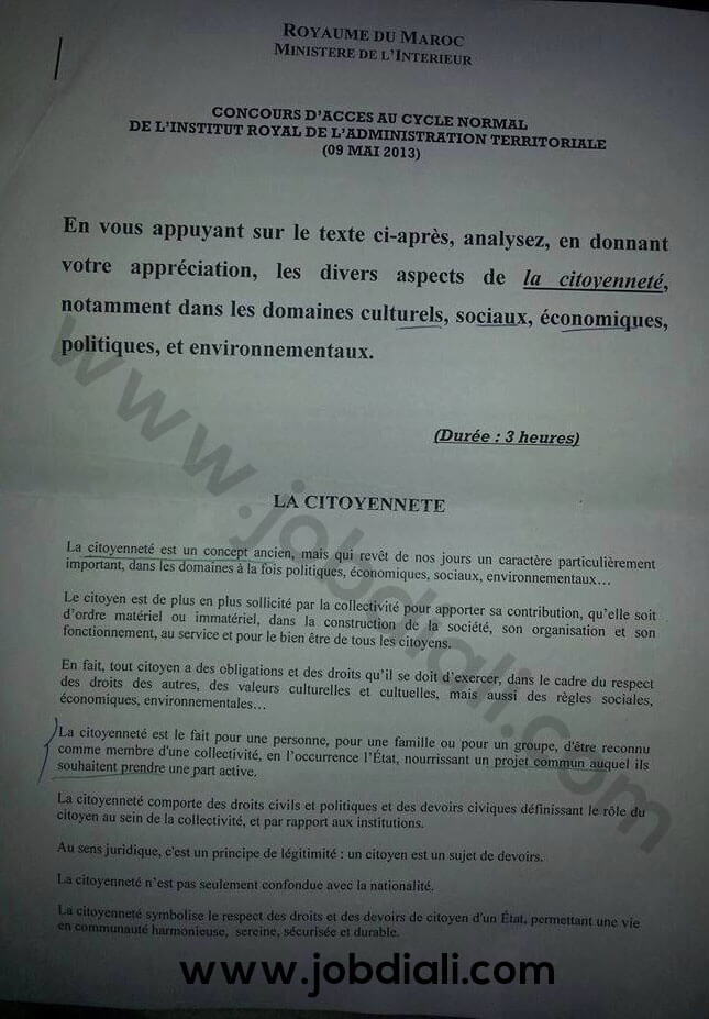 Exemple Concours d'accès au Cycle Normal de l'Institut royal de l'Administration Territoriale 2013 - Ministère de l'Intérieur