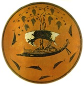Small image of Dionysos on ship with grape vine and dolphins