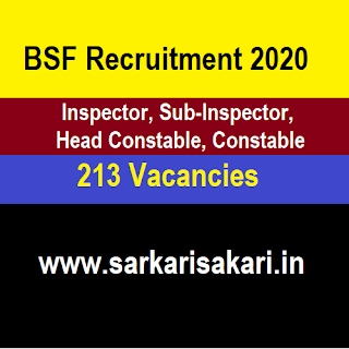 BSF Recruitment 2020 - Inspector/ Sub-Inspector/ Head Constable/ Constable in BSF Engg Setup and NDRF BNS (213 posts)