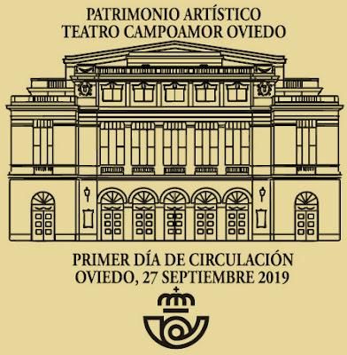 Matasellos PDC de la Hoja bloque del Teatro Campoamor