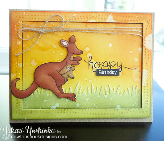 Hoppy Birthday Kangaroo Card by Yukari Yoshioka | Hoppy Days Stamp set by Newton's Nook Designs #newtonsnook