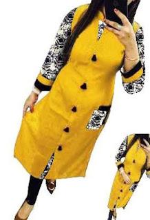 Yellow Designer Cotton Selfie Kurti