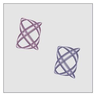 I organized Lissajous like figures in 2 shape rotate animation.