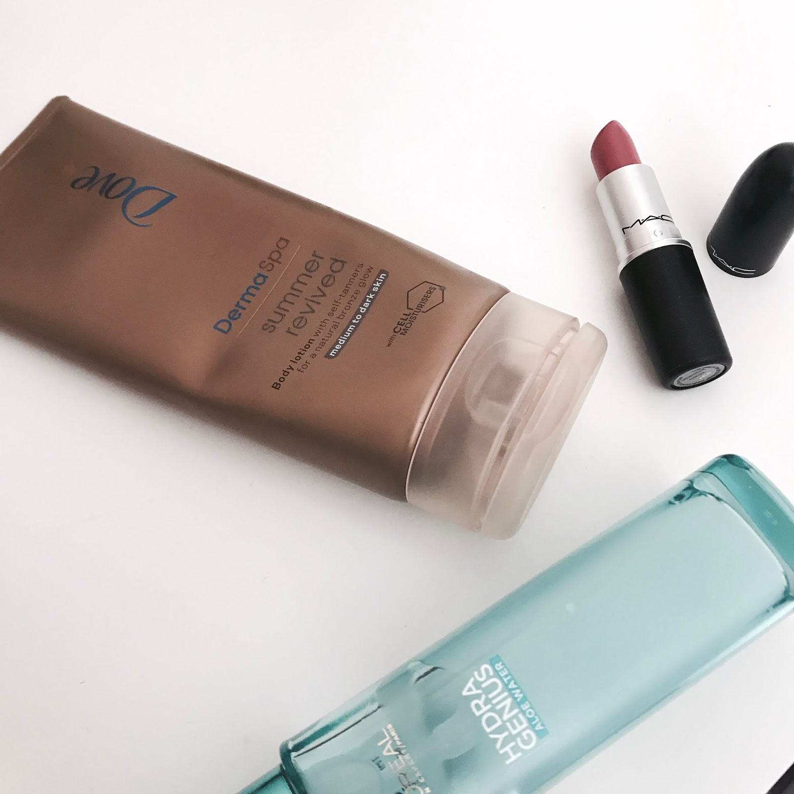 July favourites - Mac Fanfare, Loreal, Dove