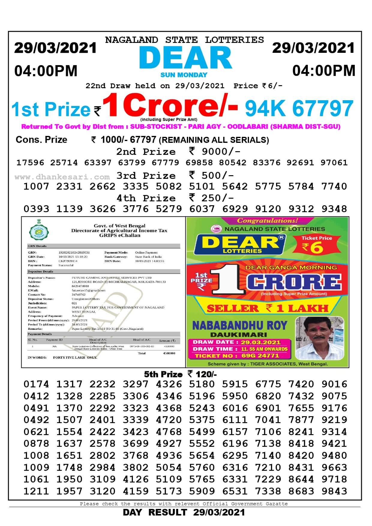 Nagaland State Lottery Result Today 4:00 PM 29.3.2021
