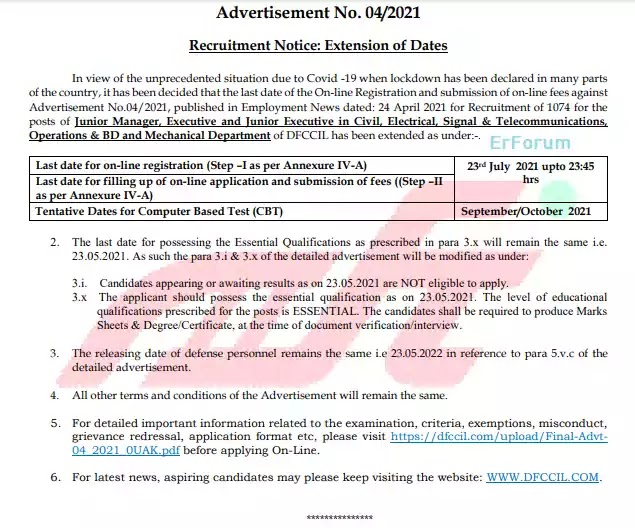 DFCCIL 04/2021 Application Date Extended- Official Notification