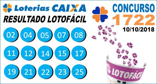 Resultado da Lotofácil concurso 1722 de 10/10/2018 (Imagem: Informe Notícias)