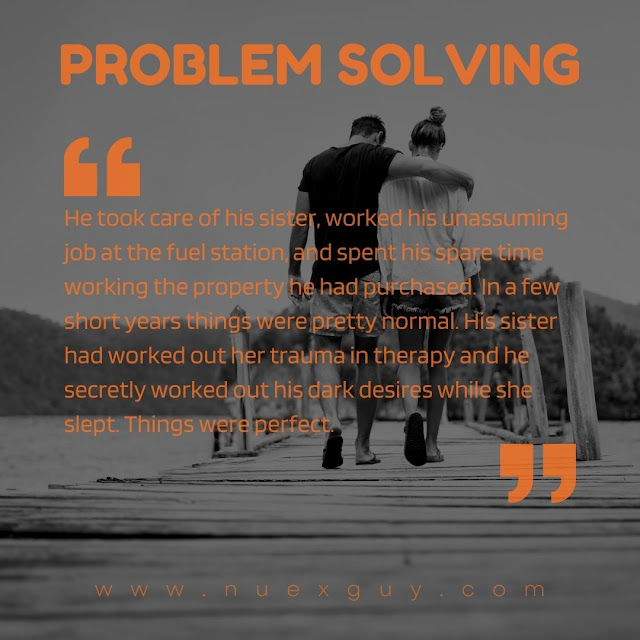 A quote from the PROBLEM SOLVING short fiction piece laid over black and white imagery of a man and woman walking away close to each other.