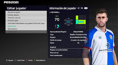 PES 2021 Faces Joe Rothwell by Emaelmate