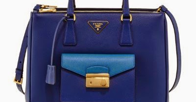 316c77391f8e Prada Galleria Tote with Front Pocket in Two Tone Blue Saffiano Leather  BN2674 - Luxury Branded 2014