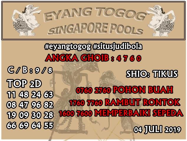 PREDIKSI TOGEL SINGAPORE 4 JULI 2019