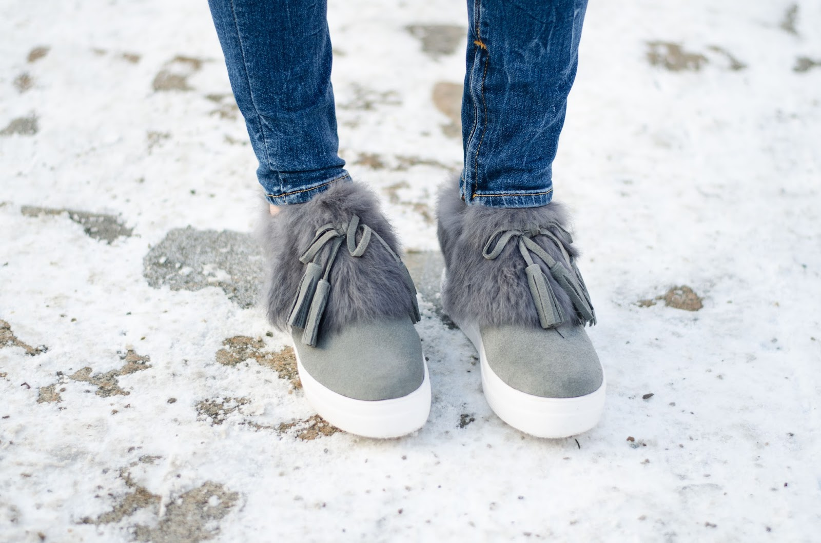 kristjaana mere zaful gray fluffy fur tassel sneakers