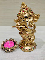 Gold Polyresin Dancing God Ganesha Giving Blessing Statue Home Office Living Room Temple Décor with Tlight Holder