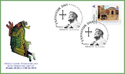 Sobre Exfiastur 2014 con matasellos e imagen de Alfonso II