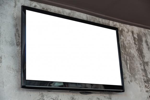 TV led layar putih polos (TV blank putih) suara ada