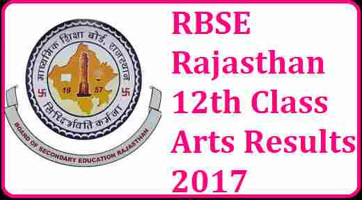 RBSE Rajasthan 12th Class Arts Results 2017