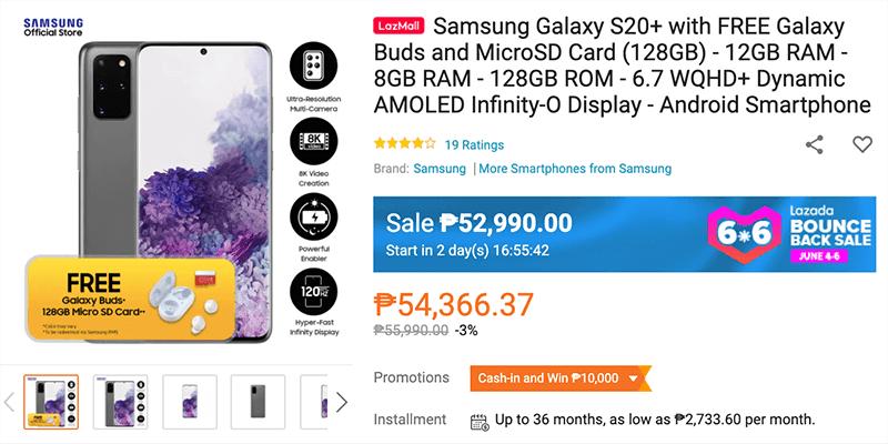 Samsung Galaxy S20+ with freebies