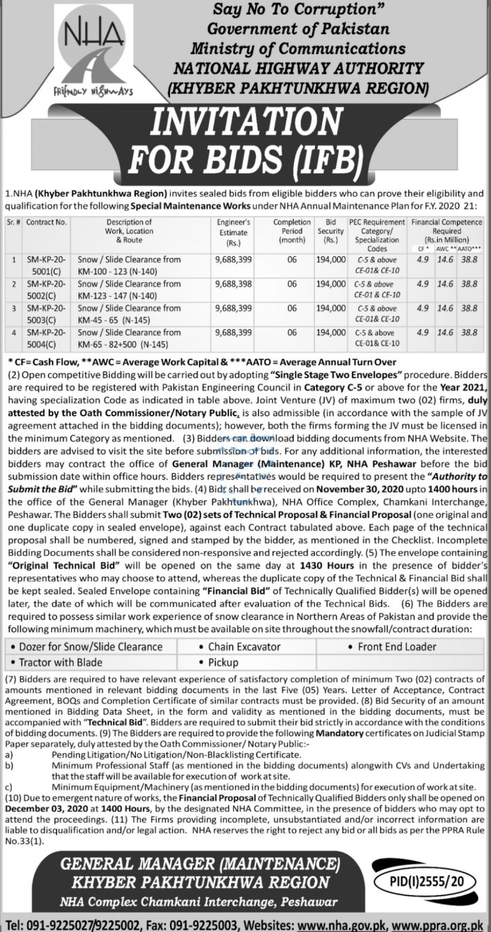INVITATION FOR BIDS (IFB), Ministry of Communications  NATIONAL HIGHWAY AUTHORITY  (KHYBER PAKHTUNKHWA REGION), NHA