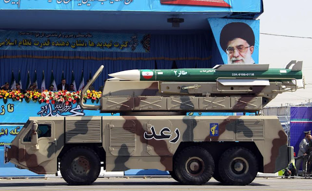 A picture dated September 21, 2012, shows a Raad air defense system carrying Taer missiles being displayed by Iran's Revolutionary Guard,