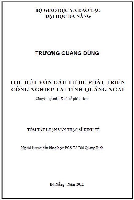 Thu hút vốn đầu tư để phát triển công nghiệp tại tỉnh Quảng Ngãi