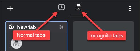اضغط على رقم علامات التبويب العادية ، أو القبعة ذات النظارات لعلامات تبويب التصفح المتخفي.