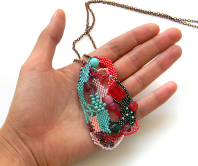 freeform beaded pendant beadwork beads freeform peyote jewelry
