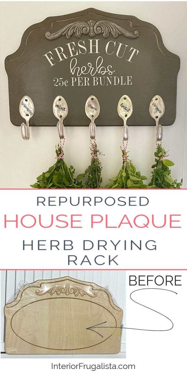 Repurposed House Plaque Herb Drying Rack