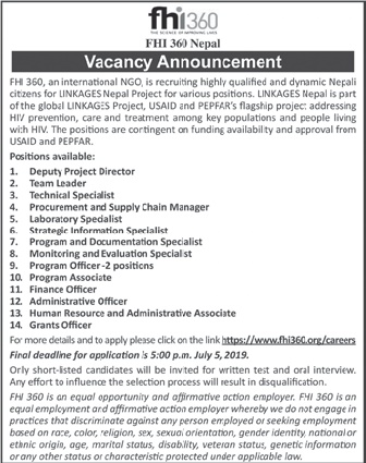 Vacancy Announcement from FHI360 Nepal