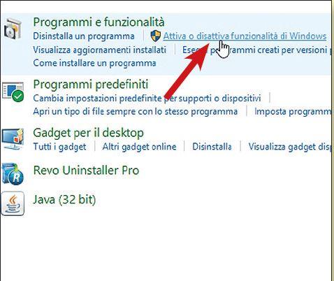 come disattivare programmi e funzionalità di windows 10