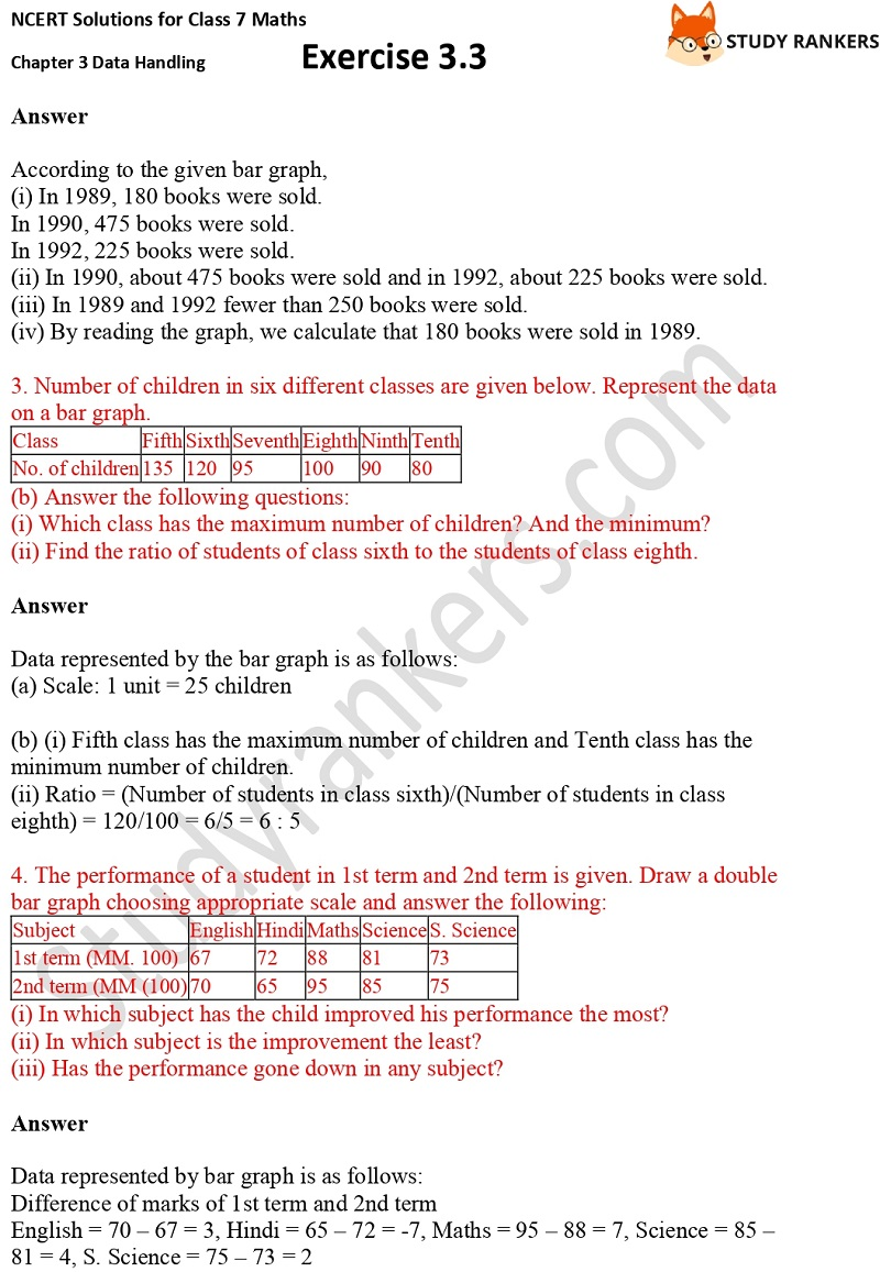 NCERT Solutions for Class 7 Maths Ch 3 Data Handling Exercise 3.3 2