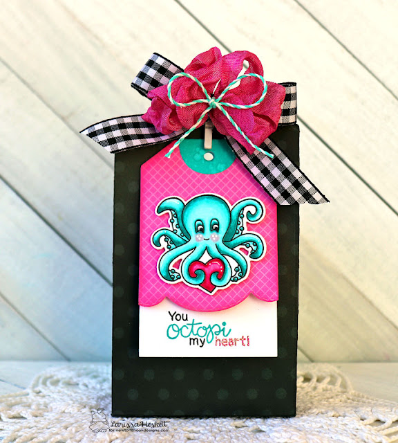 You Octopi my Heart by Larissa Heskett for Newton's Nook Designs using Tides of Love, Fancy Edges Tag Die, Copic Markers #valentinesgiftbag #newtonsnook #tidesoflove #fancyedgestag #octopimyheart